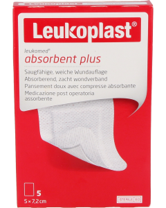 Leukoplast leukomed absorberende wondverband 5cm x 7.2cm, 5st